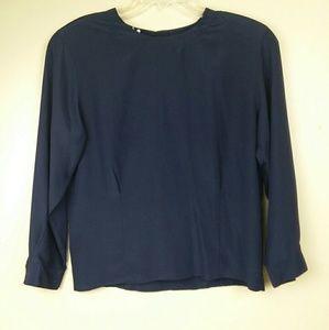Jones NY Blue Darted Long Sleeve Blouse Sz 14